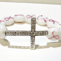 """Breast Cancer Awareness Silver Rhinestone Cross White Glass Elastic Stretchy Beaded  Bracelet, Fits up to 8.5"""""""