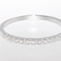 925 Sterling Silver Women's CZ Ring 2mm Cubic Zirconia Band