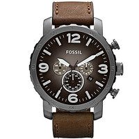 Fossil Nate Men's Brown Leather Strap Chronograph Watch