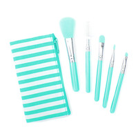 Pastel Makeup Brush Set of 5 in Striped Pouch