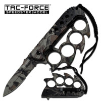"""4.5"""" Forest Camo Knife w/ Finger Guard"""