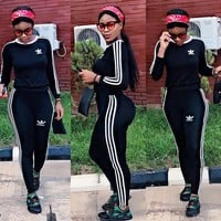 """Adidas"" Women  Fashion Stripe Letter Long Sleeve Zip Cardigan Sweater Trousers Set Two-Piece Sportswear"