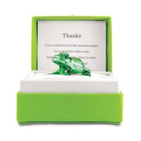 Small Colorburst Messenger 'Thanks' Glass Frog Gift