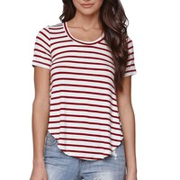LA Hearts Striped Scoop Neck Top - Womens Tee - White/Red