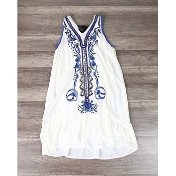 Ethereal Embroidered & Hand Beaded Bohemian Dress in Ivory