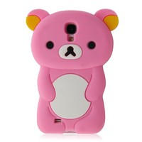 TEDDY BEAR 3D Design Silicone Case Cover Skin for Samsung Galaxy S4 S IV I9500 - Pink w/ Screen Protector