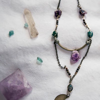 WANDERLUST MOON NECKLACE - Brass Moon Charm Indian Agate Pyrite Amethyst - Charlie Girl Gems