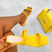 2020 New Products Women's Large Size Flat Strap Slippers shoes