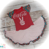 """Girls approximate size 4/5/6  Upcycled Gently used Coca-Cola t-shirt Dress 12.5"""" x 25.5"""""""