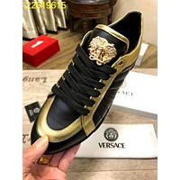 Versace Black/Gold Men Women Fashion Casual Low Help Flat Running Sports Shoes Sneakers Size 38-44