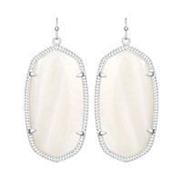 Kendra Scott Danielle White Mother of Pearl Earrings Silver