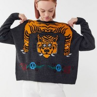 UO Tiger Intarsia Knit Pullover Sweater   Urban Outfitters