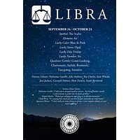 LIBRA DESCRIPTION ASTROLOGY POSTER 24X36 qualities famous people quotes
