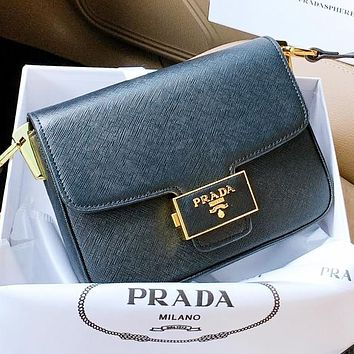 Prada New fashion leather shoulder bag crossbody bag Black