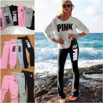 Pink Victoria's Secret Fashion Multicolor Print Drawstring Sport Pants Trousers Sweatpants
