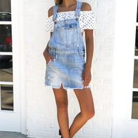 Stevie Denim Overalls Distressed Skirt