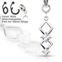 Add-On Couble Marquise CZ Dangle Charm for Navel Belly Button Rings, Dermal Anchors and More