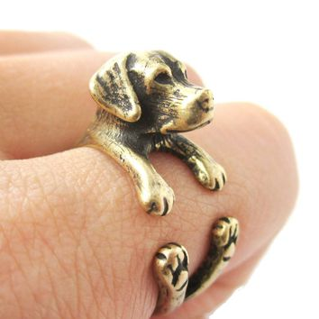 Realistic Labrador Retriever Shaped Animal Wrap Ring in Brass   Sizes 4 to 8.5