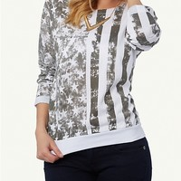 Gray American Flag Pullover