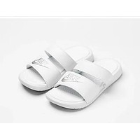NIKE BENASSI DUO UITRA men's and women's casual beach shoes F-ADD-MRY white