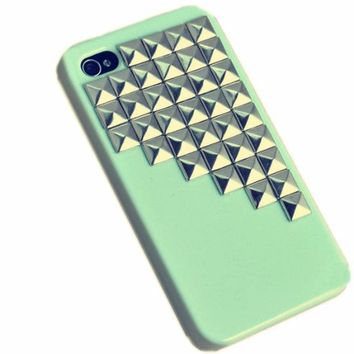 Fashion Punk Studs and Spikes Mobile Phone Case for iPhone 4/4S DIY Studs Case