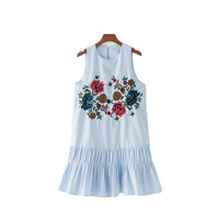 Floral embroidery pleated dress