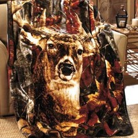 "Jumbo 60"" x 80"" Raschel Deer Animal Scenic Image Throw Blanket Sofa Bed Home"