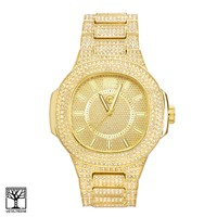 Jewelry Kay style Men's CZ Iced Out Hip Hop 14k Gold Plated Metal Band Watch WM 8681 G