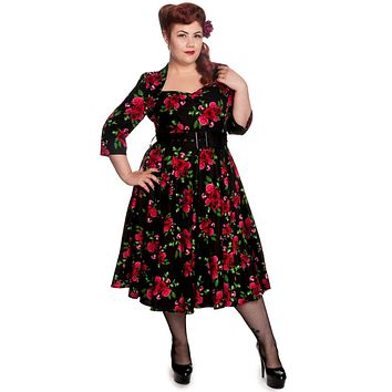Hell Bunny 50's Eternity 3/4 sleeves Red Roses Floral Vintage Black Dress