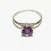 Art Deco Sterling Silver Ring, Amethyst, Gemstone, Solitaire, Engagement Ring, Hallmarked