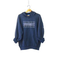 UMBRO Hooded Sweatshirt Athletic Pullover Soccer Sports Hoodie Sweater Slouchy Navy Blue Emblem Sporty Prep Workout Top Unisex size XL