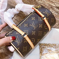 Hipgirls Louis vuitton LV Fashion new monogram leather shopping leisure pillow shape shoulder bag crossbody bag handbag