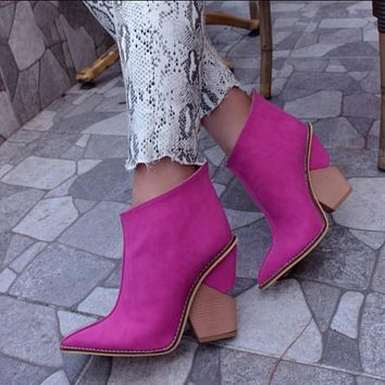 Ankle Boots Women Thick High Heels Pointed Toe Cowboy Boots Female Leather Shoes For Lady