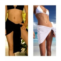 1 World Sarongs Womens FRINGELESS Solid Mini/Half Swimsuit Cover-Up Sarong