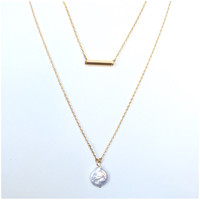 Dainty Pearl & Bar Layered Necklace Set