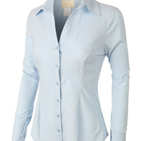 LE3NO Womens Tailored Striped Button Down Shirt with Stretch