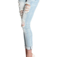 TheMogan Light Washed Ripped Destroyed Cropped Roll Up Skinny Jeans