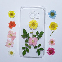 Samsung Galaxy note 5 Case, Samsung Galaxy note 4 case, flower note 3 Cases, note 5 case clear, pressed flower samsung galaxy case