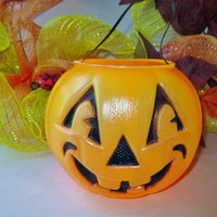 Halloween Pumpkin Pail Jack O Lantern Candy Bucket w Handle Vintage Blow Mold Trick or Treat Candy Pail Bowl Halloween Holiday Home Decor