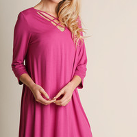 Pink 3/4 Sleeve Criss Cross Dress