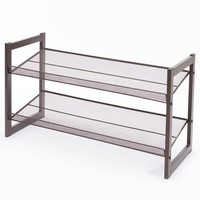 Richards Homewares 2-Tier Stackable Angled Shoe Rack (Brown)