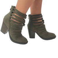 Wrap Around Suede Strappy Ankle Booties in Olive