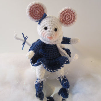 Ice Skating Ballerina Mouse Crochet Stuffed Cutie Amigurumi