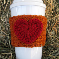 Crochet Heart Coffee Cup Cozy Rust and Cranberry