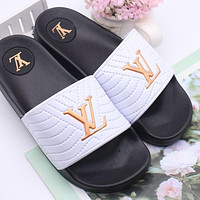 LV Louis Vuitton Summer Women's Shoes Slippers Sandals Trendy Thick-soled Wild Beach Slippers White