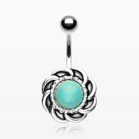 Tribal Turquoise Sun Belly Button Ring (LIMIT 3 PER ORDER)