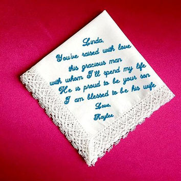 Mother of the Groom  Heirloom Embroidered, Personalized Hanky, Gift, Handkerchief  Gift Box Included