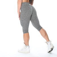 High Waist Heather Grey Capris by Celestial Bodiez
