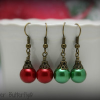 Christmas Ornament Earrings in Antique Bronze - Your Choice Red or Green Glass Pearl Earrings - 61300140