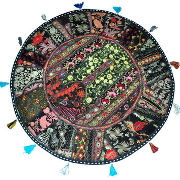 """Black 22"""" Decorative Round Floor Pillow Cushion round embroidered Bohemian Patchwork floor cushion pouf Vintage Indian Foot Stool Bean Bag"""